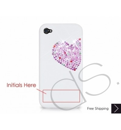 Love Heart Personalized Bling Swarovski Crystal Phone Case - Pink